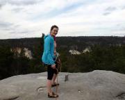 Der Gipfel wurde nach einem Führungstausch aber erreicht - auch wenn er klein ist, bietet sich ein herrlicher Blick auf die Felsbrüche bei Rathen.
