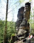 Tour 06 - Almuth am Fuße des Birkenturms, durch die deutlich sichtbare Verschneidung führt der Alte Weg III
