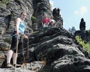 Tour 07 - Almuth als Frontfrau nach ihrem Vorstieg an der Raupe