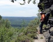 Schmaler Zustieg zum Kletterfelsen Kleiner Zschirnsteinturm