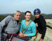 Rabentürmchen, Wiese, Almuth und Diana auf dem Gipfel