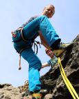 Steffen hat den sehr schweren Gipfelaufschwung geschafft, niemals nur eine II