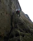 Einstieg in den Alten Weg an der Wartburg, eine herrliche Kletterei an einer Rippe