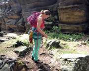Am Tag danach im Bielatal – Almuth ist noch immer euphorisch und steigt alle Touren des Tages vor