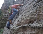 Mein Versuch in der Talwand, die ich eigentlich vorsteigen wollte - im Nachstieg geschafft