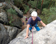 Steffen im Nachstieg, hier am Beginn des steilen Wandstücks vor dem Gipfel