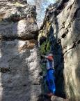 Dorfbachwand, Ostkante, IV* - 2006 problemlos gestiegen, heute fehlt der Mut