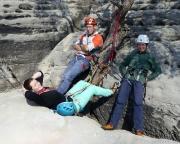 Nach der Kletterei am Waltersdorfer Horn – fast eine Stunde anstellen an der Abseilöse