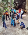 Der Klettertag ist fast vorbei – Aufbruch an der Boofe zum Rückweg nach Mittelndorf