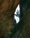 Das Bild verrät, warum - Blick von unten zur Abseilöse der Kleinsteinwand