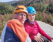 Gipfel Kleinsteinwand, ich mit meiner persönlichen mutigen Vorsteigerin
