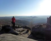 Dezembersonne am Aussichtspunkt Breite Kluft über Schmilka