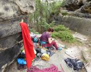 Unser Basislager in der Scharte zum Bergfreundschaftsstein