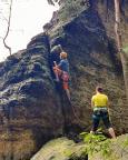 Schildkrötenturm im Bielatal, Einstieg in die Südostkante
