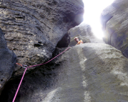 Blick in die knifflige Ausstiegswand des Unteren Reitgrats
