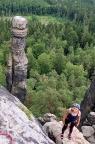 Zwei schöne Damen am Pfaffenstein, eine allerdings zu Stein verwandelt