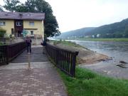 Die Mündung der Kirnitzsch in die Elbe bei Bad Schandau - Ausgangs- oder Endpunkt für die Wanderung über den Flößersteig
