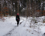Noch etwa 2 km führt uns ein schmaler Pfad zunächst weg von den Felsabbrüchen …