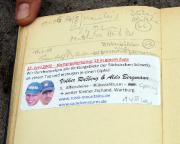 Unser Gipfelbucheintrag vom Rübezahlturm, wer wollte, konnte anhand unserer Angaben die Tour nachgehen