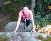 Almuth auf den letzten Metern zum Gipfel ihrer ersten Quacke