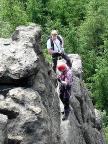 Am letzten steilen Aufschwung des Klettersteiges