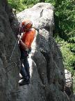 Auf dem Klettersteig Alpiner Grat bei Oybin