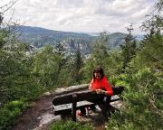 Geocaching auf der Brandhöhe bei Lückendorf mit Blick auf Oybin