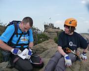 Geschafft - am Gipfelbuch des Klettersteigs