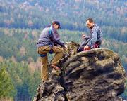 Torsten und Volker bei der Besteigung der markanten Scharfensteinnadel