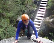 Almuth im Reibungsanstieg unmittelbar nach der Hängebrücke