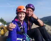 Freudestrahlend auf dem Gipfel des Klettersteiges