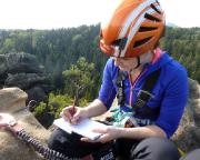 Voller Stolz der Gipfelbucheintrag beim ersten echten Klettersteig.