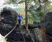 Seilbrücke am Nonnenfelsen-Klettersteig, der neue Ausstieg