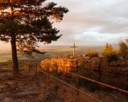 Traumhafter Sonnenuntergang an der Toeöpferbaude - die Felsen scheinen zu glühen