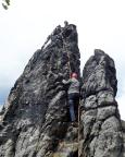 Klettern im Alten Weg an der Scharfensteinnadel