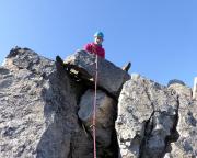 Almuths zweiter Vorstieg ist geschafft - auf dem Gipfel Roter Turm