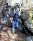 Der Klettertag beginnt - Zustieg zur Rübezahlwand, dem ersten Tagesziel