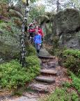 Beim Abstieg von den Steinbrüchen zum Gondelteich über den Alpenpfad
