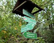 Das Schild verdeutlich die zentrale Position, wir folgen dem Alpenpfad