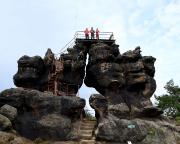 Tagesstart auf dem Felsentor auf dem Töpfer bei Oybin
