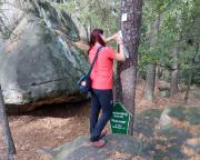 Almuth trägt uns in das Gipfelbuch des Ameisenberges ein