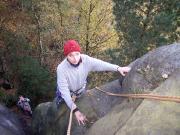 Knochenturm, Alter Weg, Christina Klitzke bei ihrer ersten Kletterei