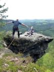 Sprung auf den Rübezahlturm, nicht  schwer aber Mut ist gefragt