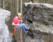 Abseile vom Setzling, von links kann man den Gipfel auch springen