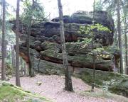 Bergseite der Giesensteinwand, links der Alte Weg - Spaltenfolge