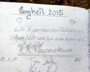 Giesensteinwand, Erzgebirgsgrenzgebiet, Gipfelbuchspruch 2015