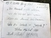 Goldstein, Großer Zschand, Gipfelbuchspruch für das Jahr 2010