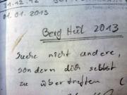 Heidewand, Wildensteiner Gebiet, Gipfelbuchspruch 2013