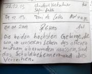 Gendarm, Erzgebirgsgrenzgebiet, Gipfelbuchspruch für 2014