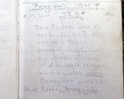 Bahnhofswächter, Gebiet Brand, Gipfelbuchspruch für das Jahr 2011